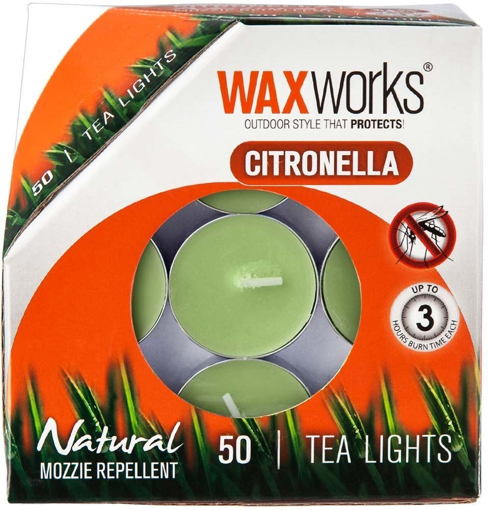 Waxworks Green Citronella Tea Light Candle 50 Pk