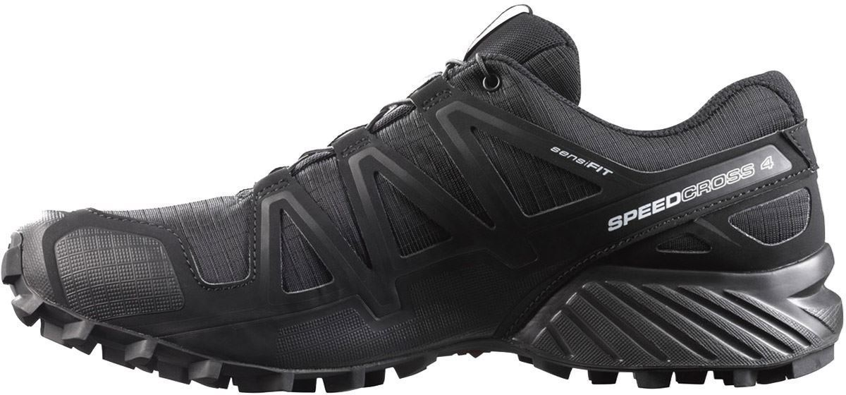 Salomon Speedcross 4 Wide Men's Shoe Blk Blk Blk Metallic Side View