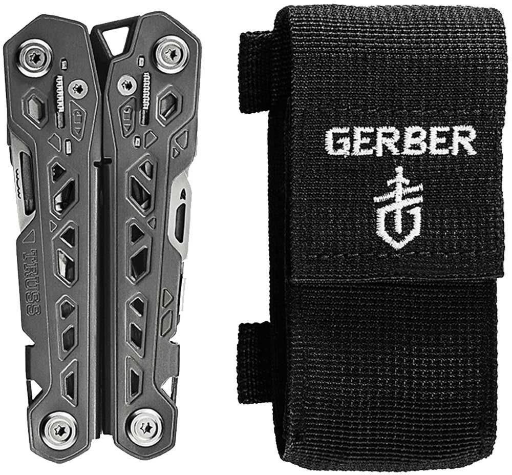 Gerber Truss Multi Tool folded closed with nylon pouch
