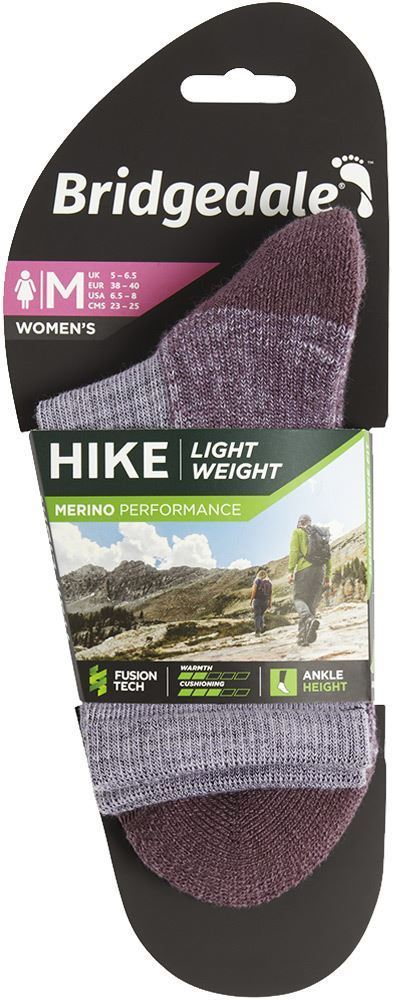 Bridgedale Hike Lightweight Women's Ankle Sock Heather Damson - Packaging