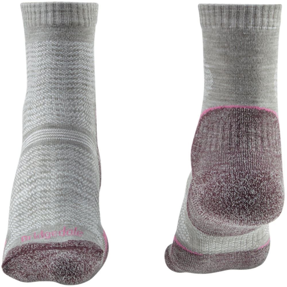 Bridgedale Hike Ultra Light T2 Wmn's Crew Sock Aubergine - Front and Back