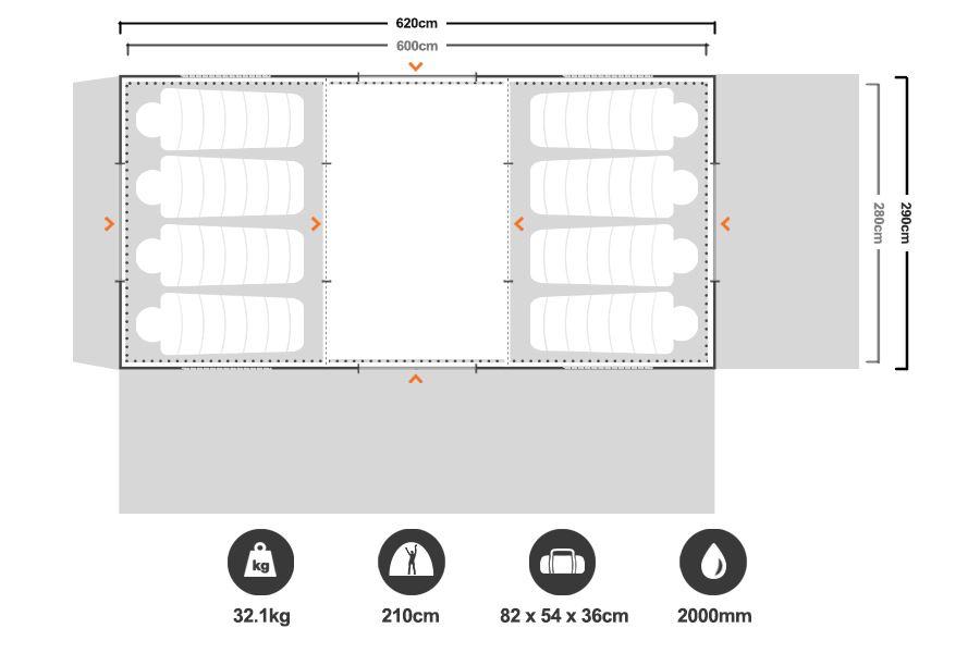 Brampton 3 Room Dome Tent - Floorplan