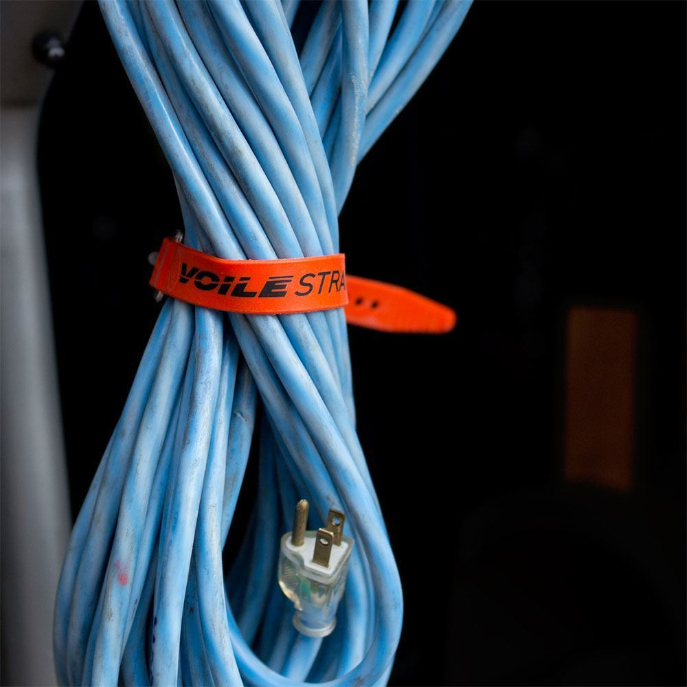 Voile Strap Aluminum Buckle - Strap holding electrical cord together