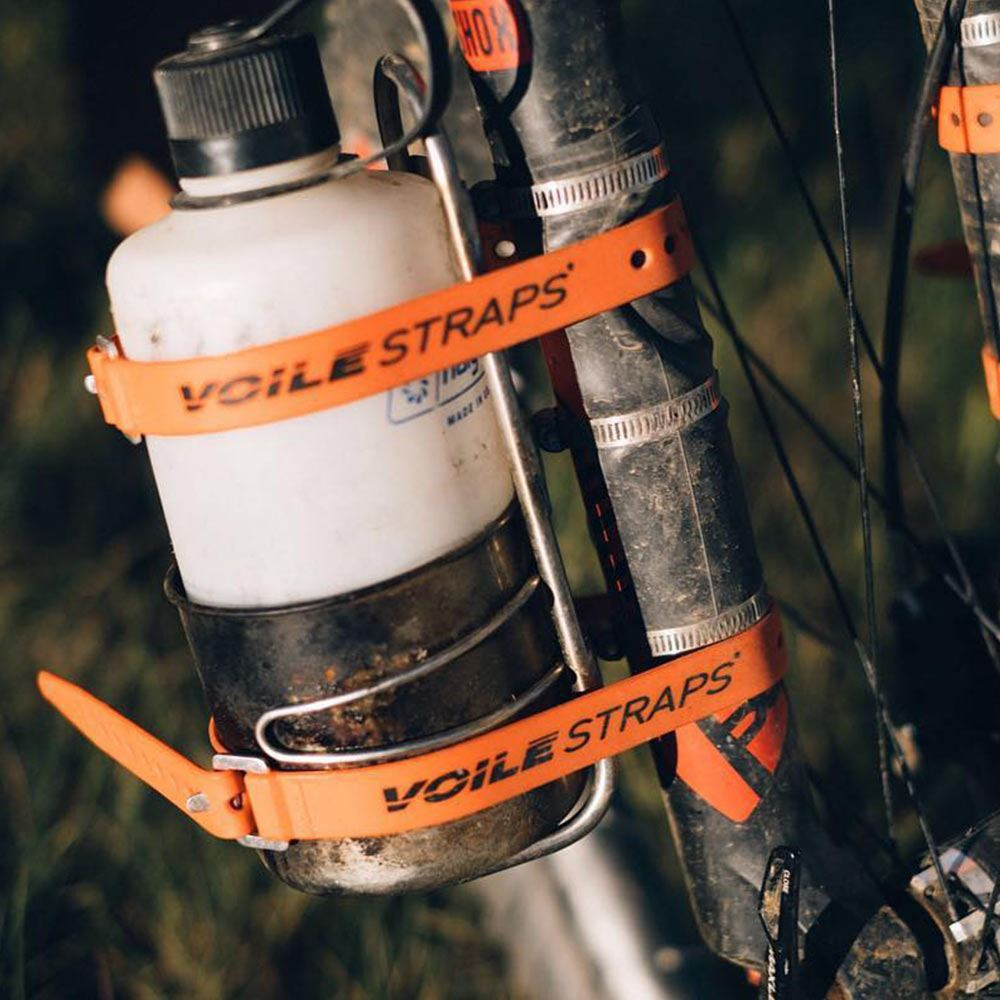 Voile Alloy Strap XL - Water bottle strapped to bike