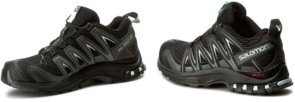 Salomon XA Pro 3D Women's Shoe Black Magnet/ Fair Aqua - Side view of shoes