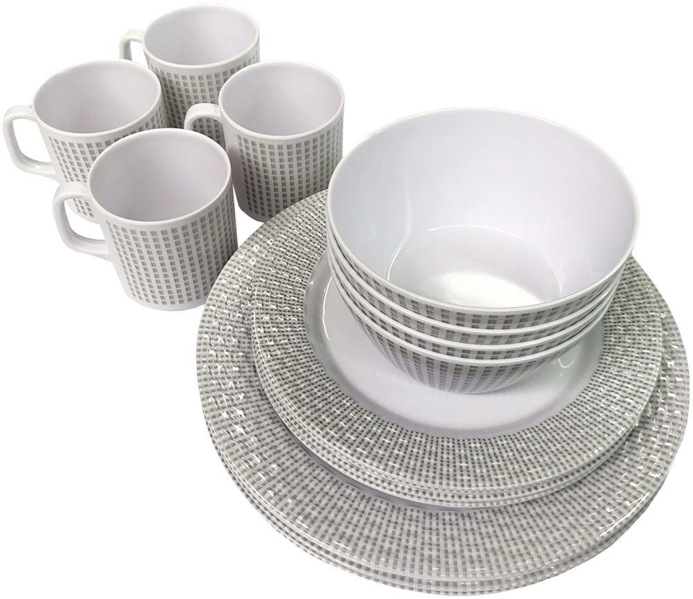 Royal Kitchenware 16pc Melamine Dinner Set Elegance - Stacked