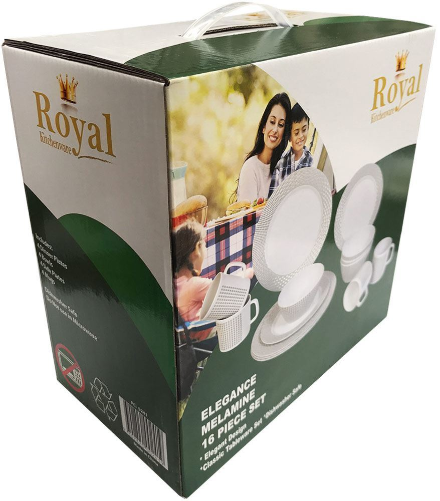Royal Kitchenware 16pc Melamine Dinner Set Elegance - Packaging