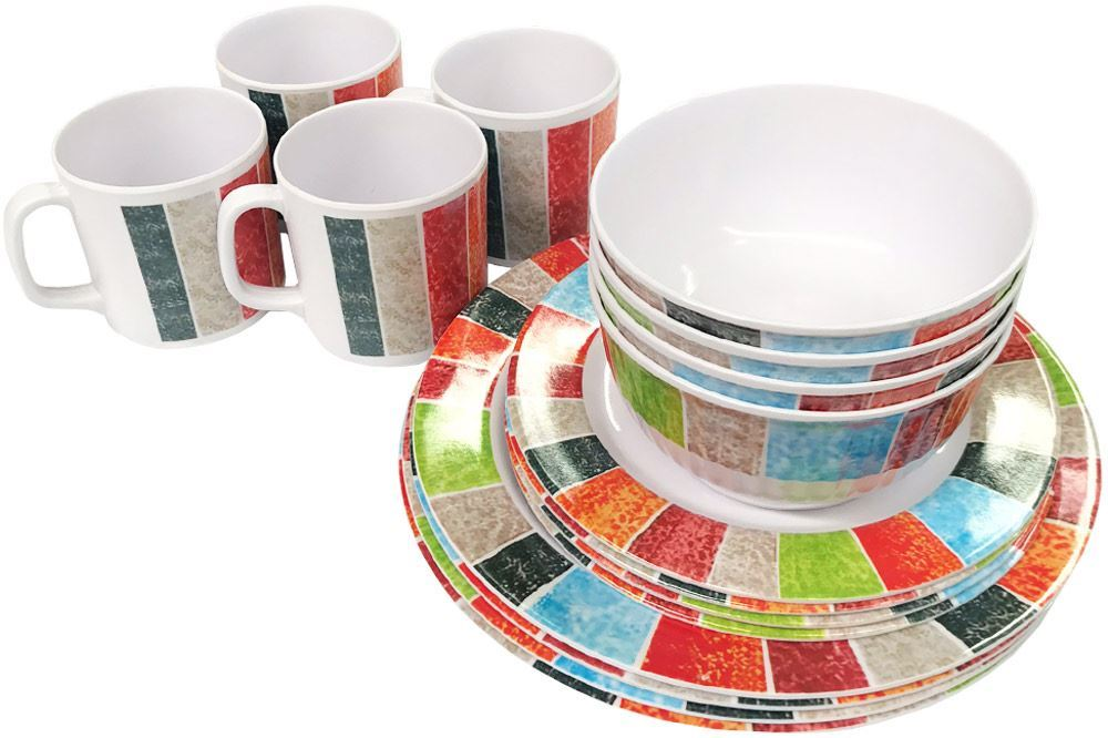 Royal Kitchenware 16pc Melamine Dinner Set Sunrise - Stacked
