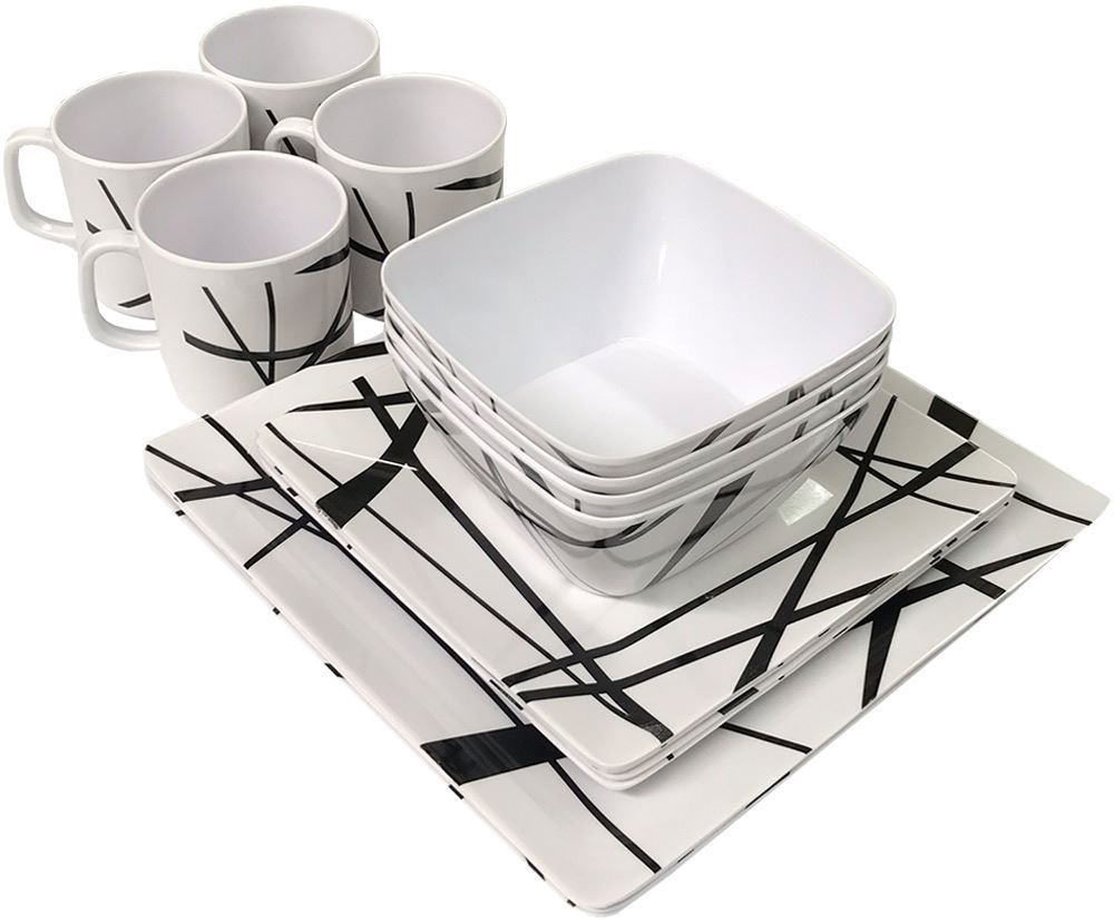 Royal Kitchenware 16pc Melamine Dinner Set Mystique - Stacked