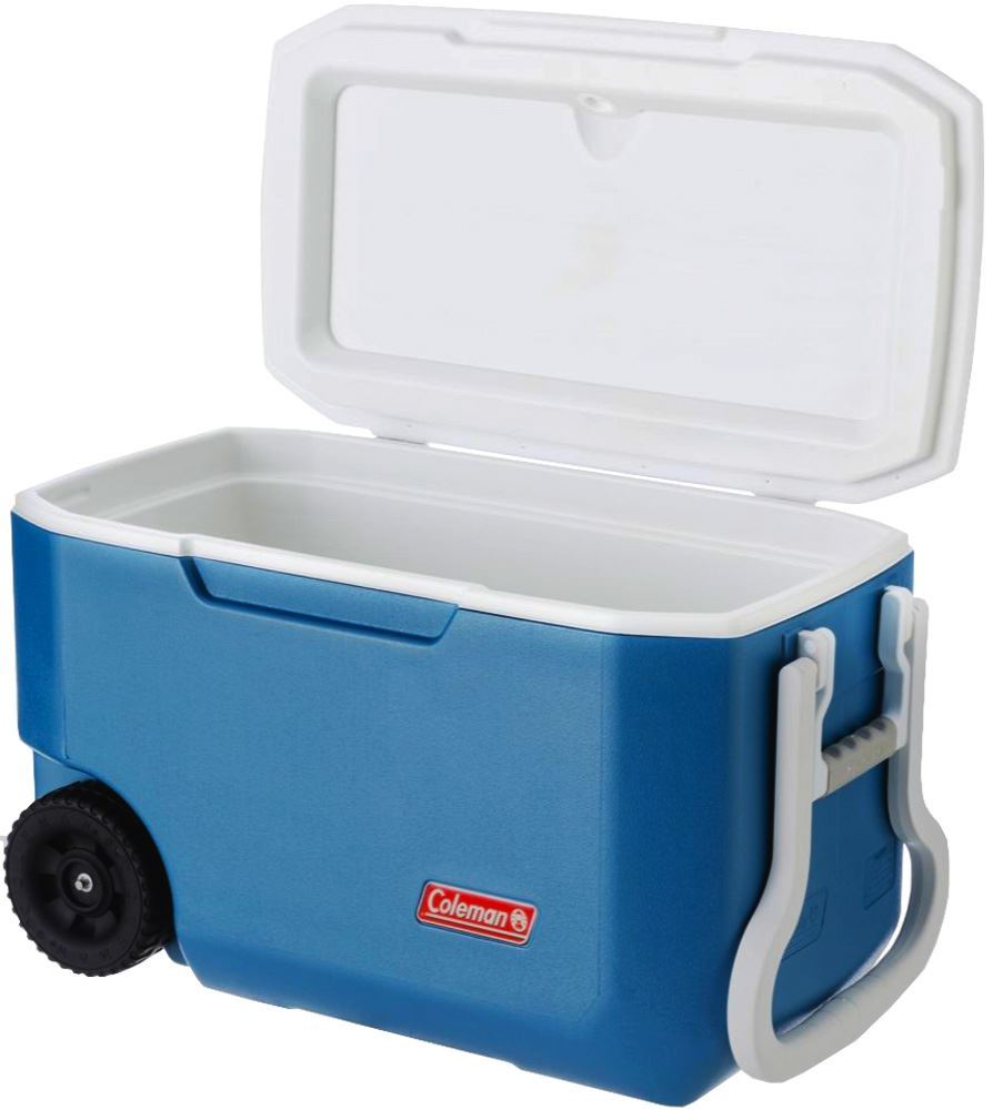 Coleman Xtreme Wheeled Cooler 58L - Lid open (side view)