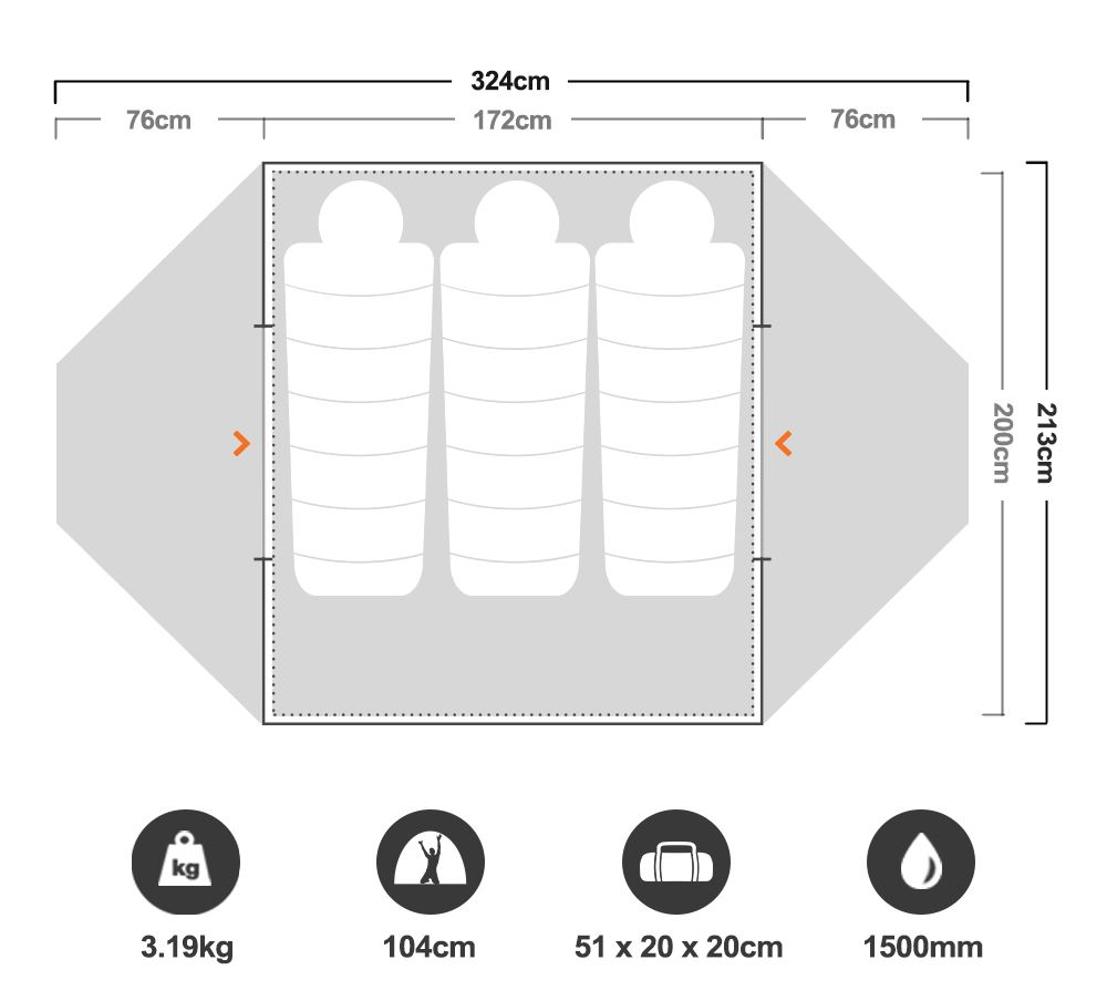 Elixir 3 Hiking Tent - Floorplan