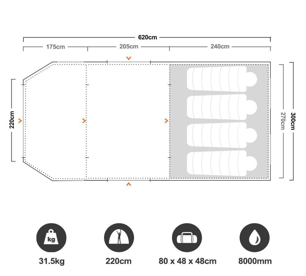 Aerodome I Pro Air Tent - Floorplan