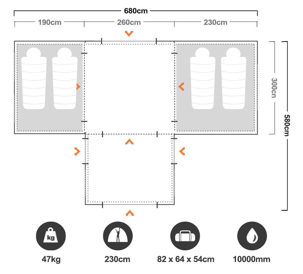Aerodome II Pro Air Tent - Floorplan