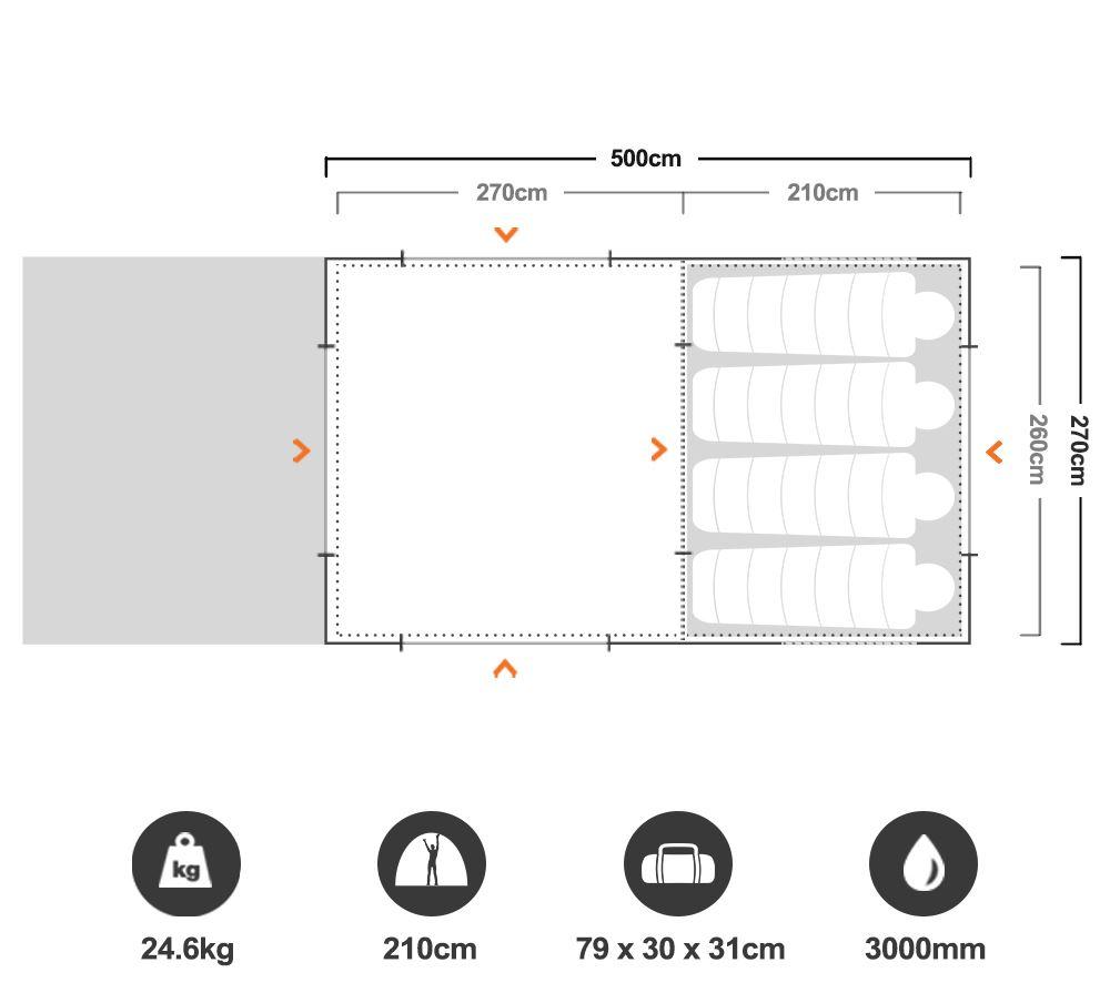 Bedarra Family 2 Room Dome Tent - Floorplan