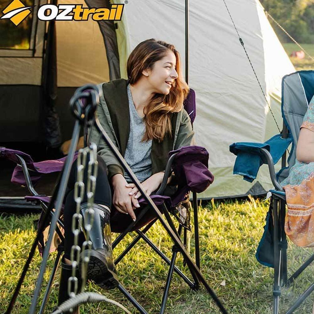 Oztrail Purple High Padded Back Camping Chair