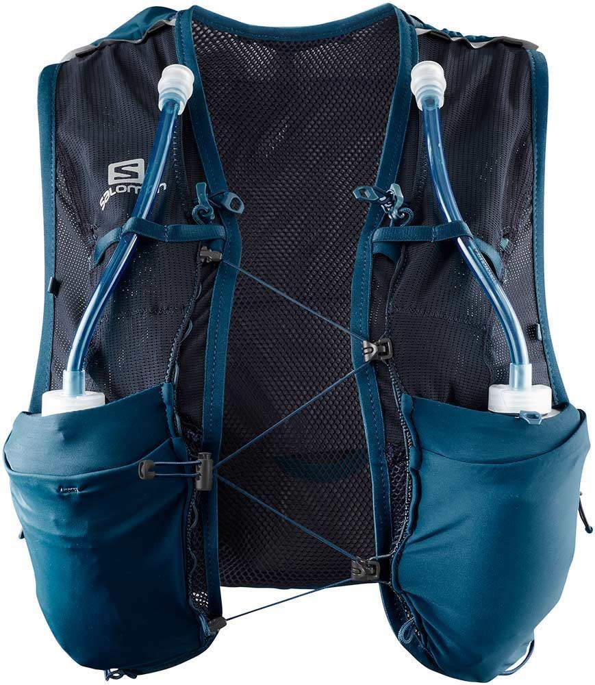 Salomon Advanced Skin 8 Wmn's Set Poseidon Night Sky 2 front flask pockets with secure loops