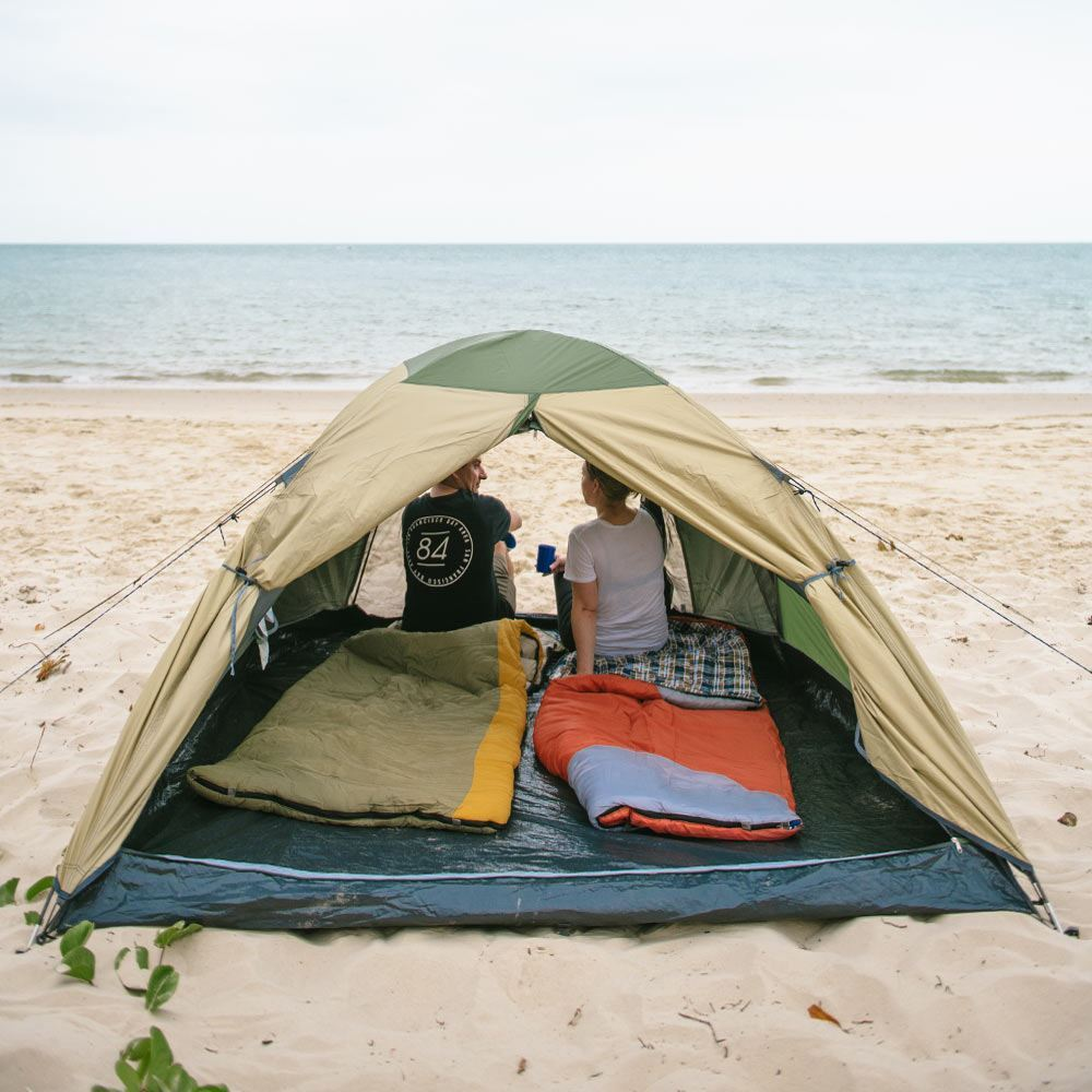 Oztrail Skygazer 3XV Dome Tent - View inside tent setup on sand