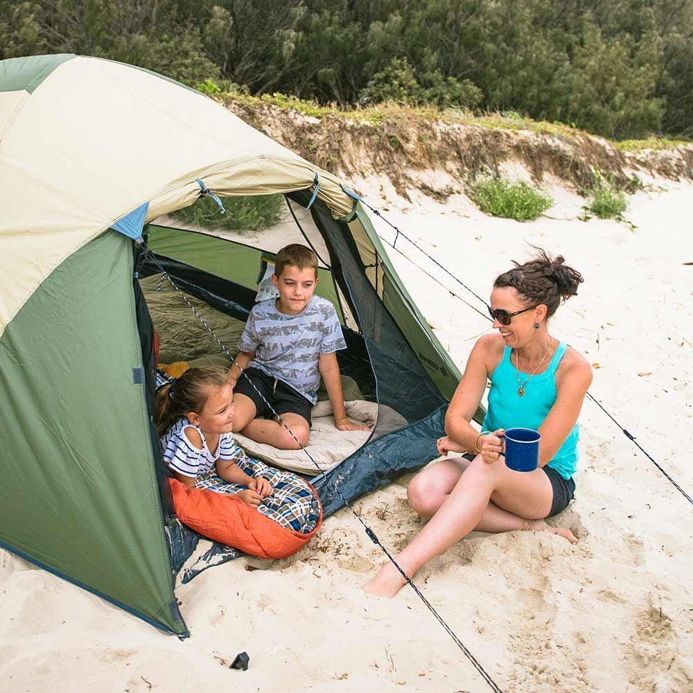 Oztrail Skygazer 3XV Dome Tent - Kids sitting inside tent