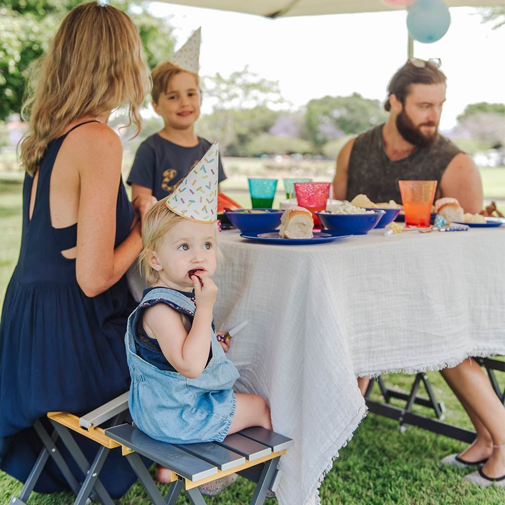 Oztrail Picnic Table Set - Family sitting at table