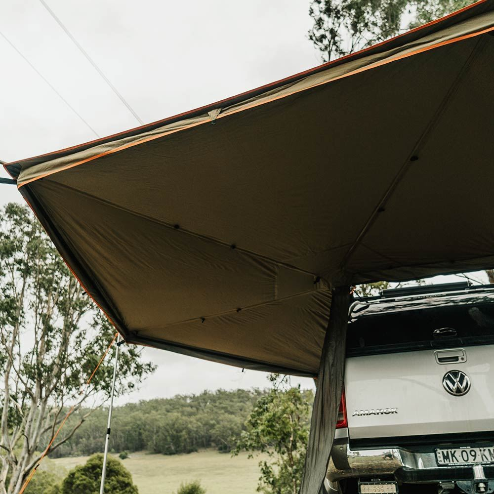 Oztent Foxwing 270° Awning Easily external skirt to provide greater weatherproofing