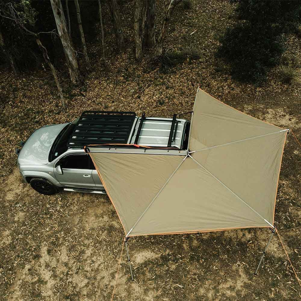 Oztent Foxwing 270° Awning 270° Coverage Continuous skirting for greater rain protection