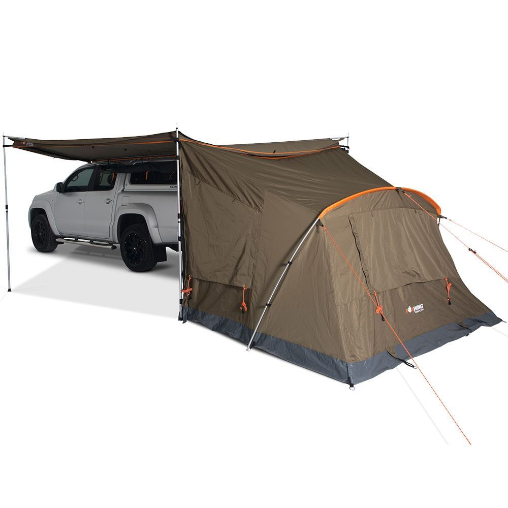 Oztent Foxwing 2.5 Tagalong Tent  gusseted rear window, zippered power inlet