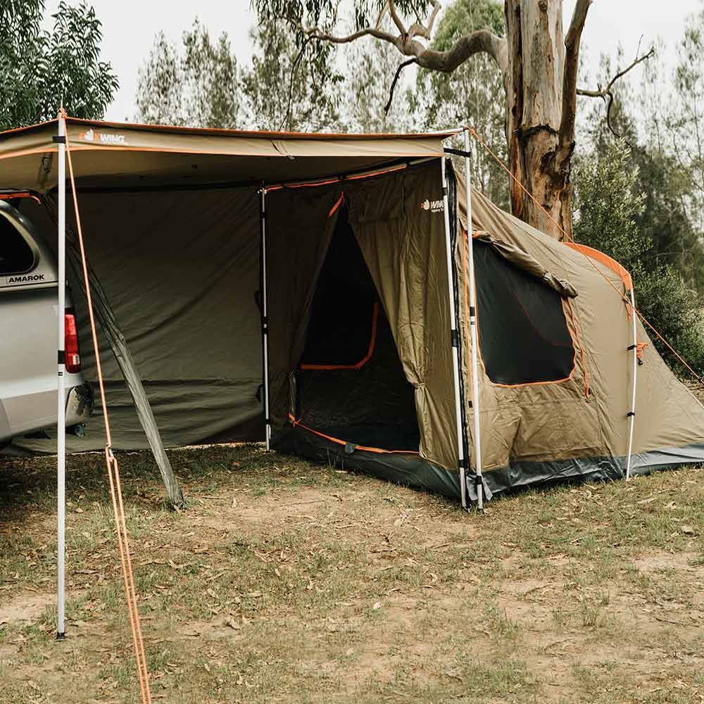 Oztent Foxwing 2.5 Tagalong Tent connection to any awning that has Velcro, Sail Tracking or a Compatible Zip