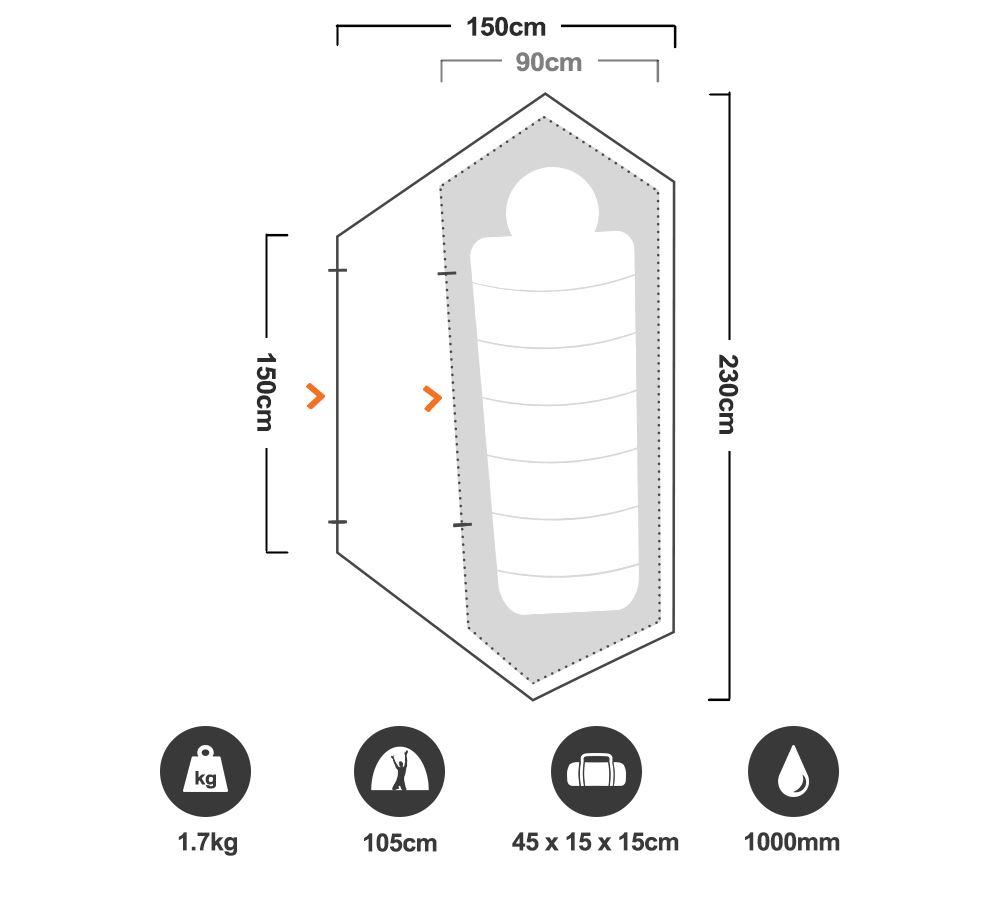 Mono Hiking Tent - Floorplan