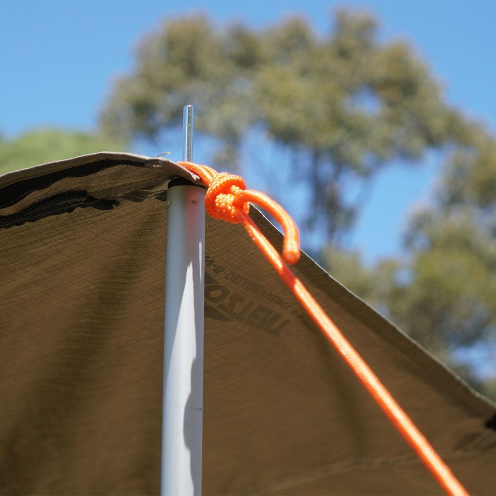 Oztent Orange Guy Rope - Tied to an RV tent pole