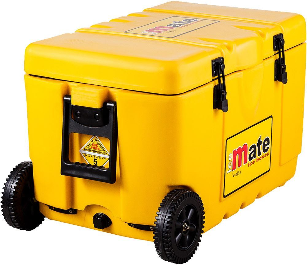 Icemate Wheelie Icebox 50 Litre - Wheel side view