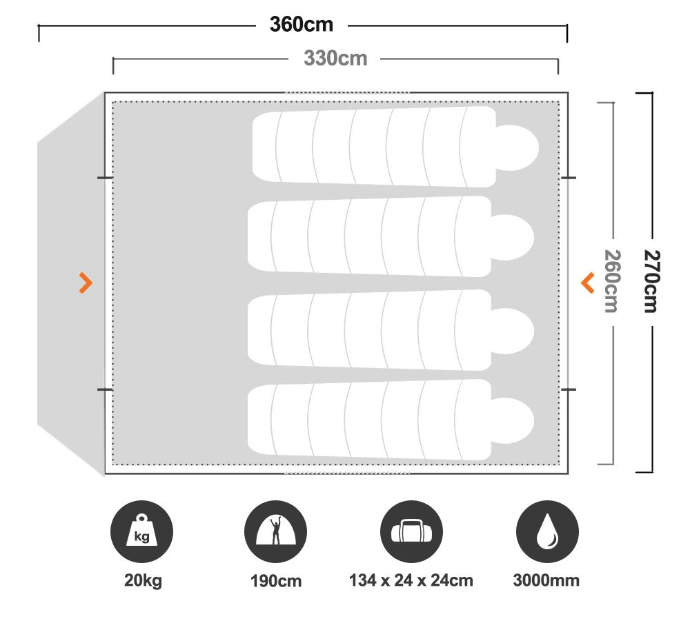 Instant Up Gold 6P Tent - Floorplan