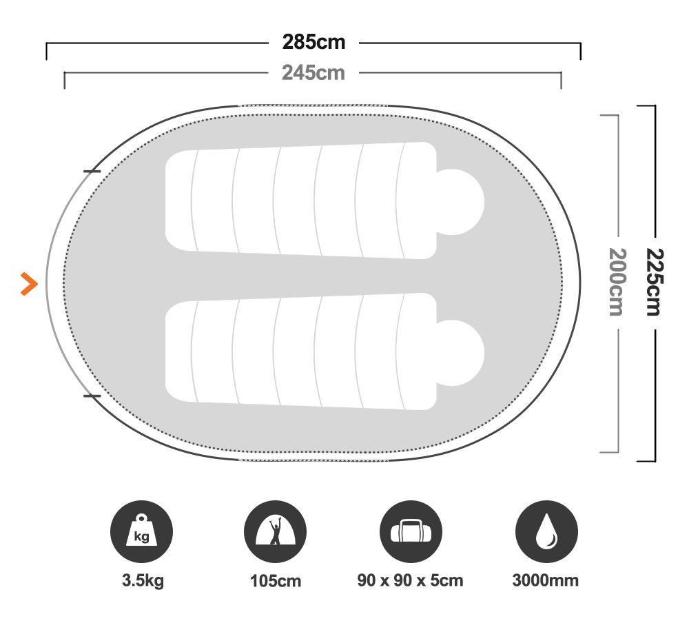 Speedy Blackhole 3 Pop Up Tent - Floorplan