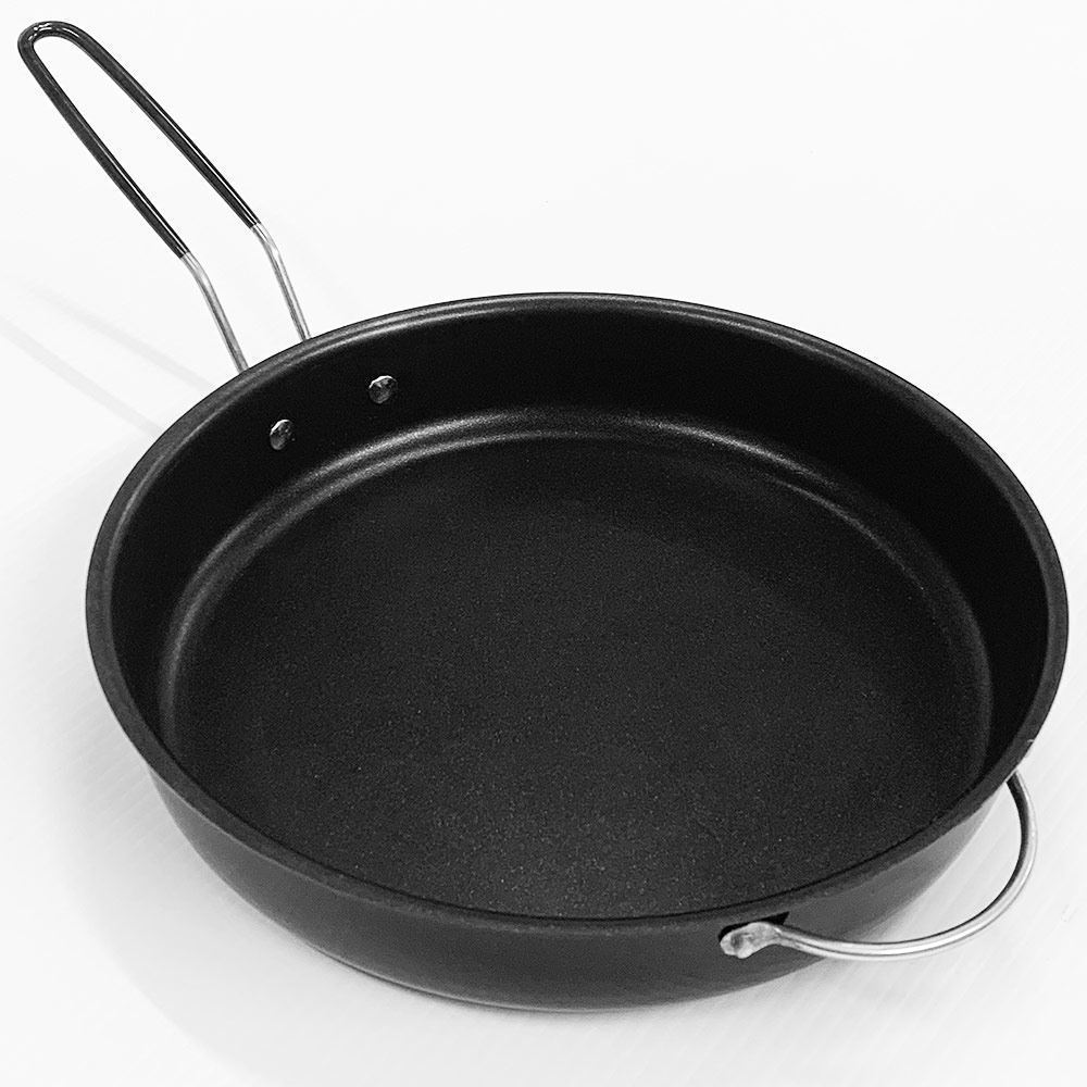 Campfire Compact Nonstick Folding Frypan  28cm - Side view with handle extended