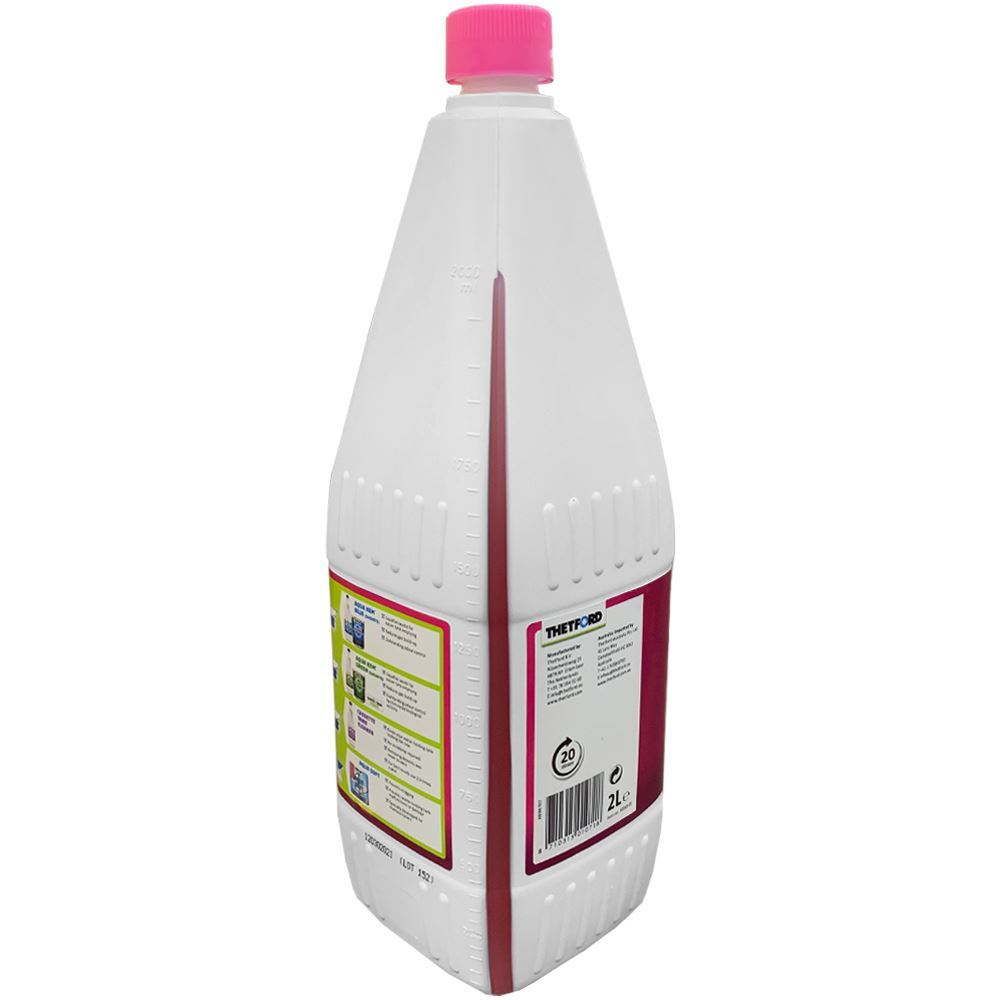 Thetford Aqua Rinse Pink 2L Bottle - Back of packaging