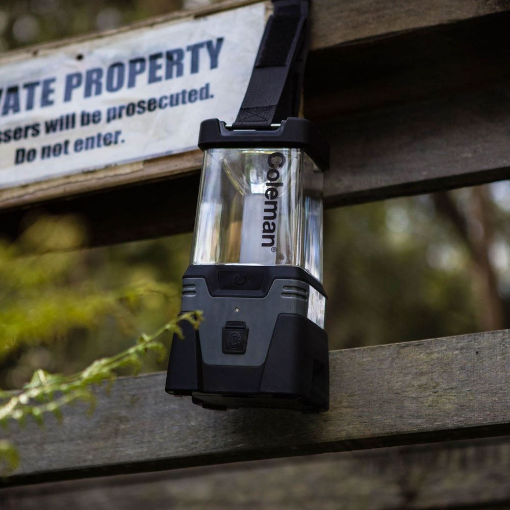 Coleman Lithium Ion LED Easy Hang Lantern - Hanging on gate