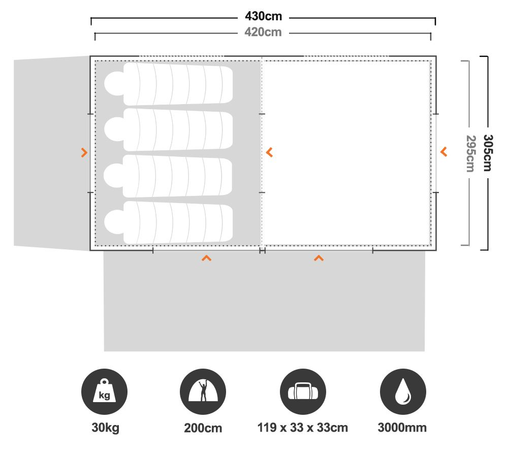 Instant Up Gold 10P Tent - Floorplan