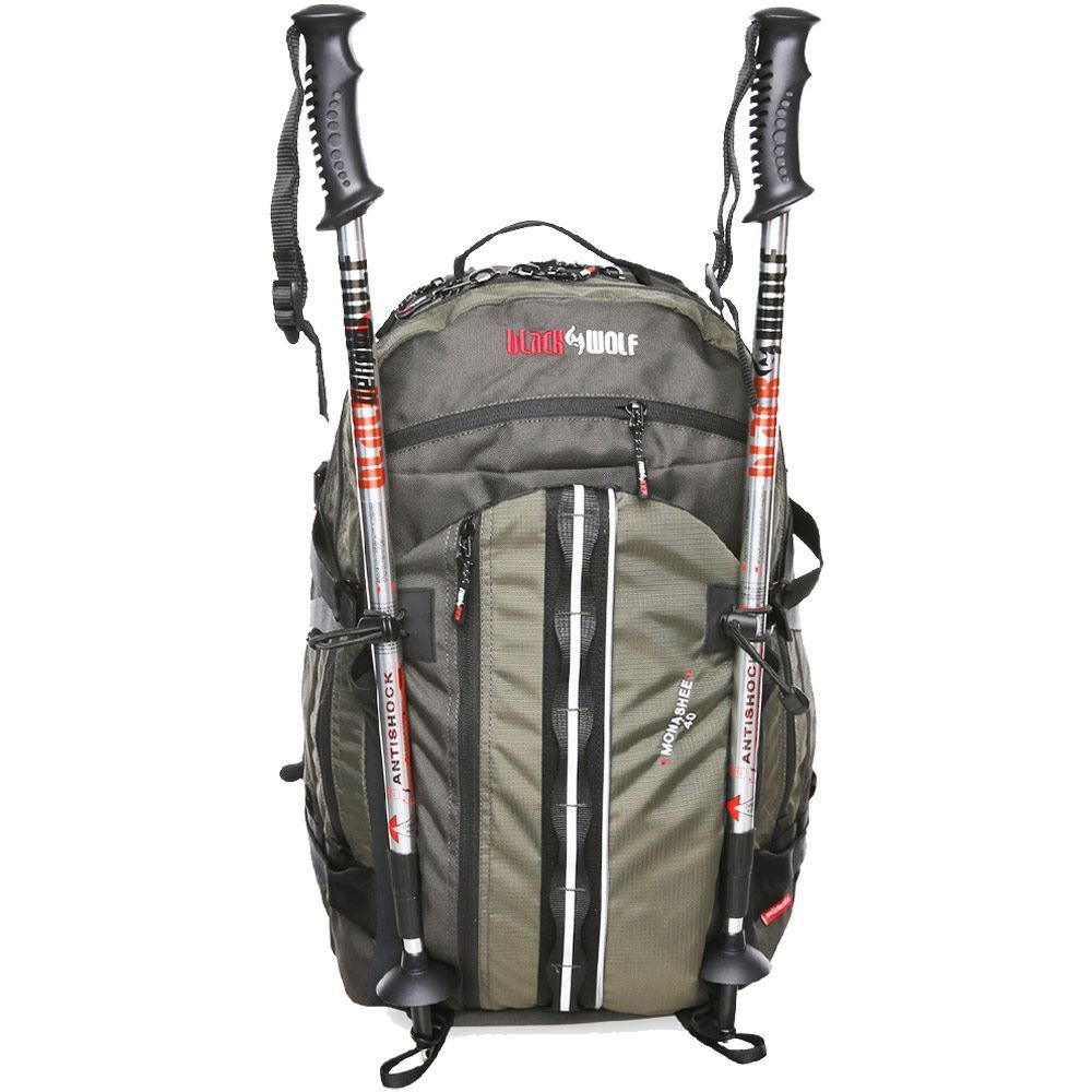 Black Wolf Monashee 40L Day Pack - Front view of pack with hiking poles attached