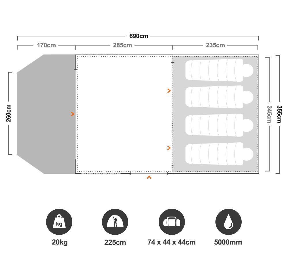 Aero TL Lite Air Tent - Floorplan