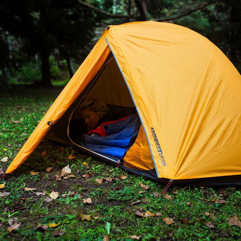 Zempire Atom Hiking Tent - Woman sleeping inside tent