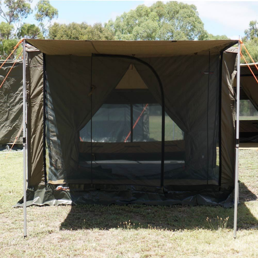 Oztent RV 5 Front Panel - Front view of solid panel upright with poles to create a front verandah