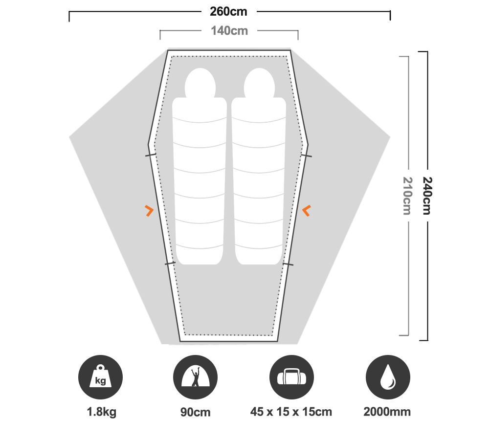 Mantis UL II Hiking Tent - Floorplan