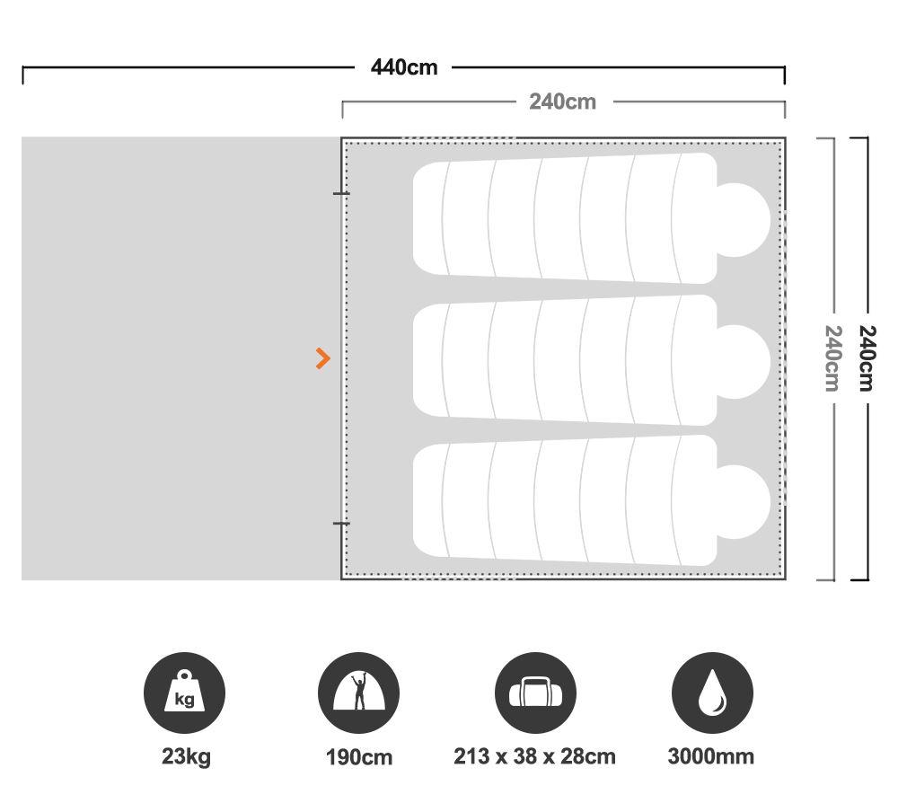 RV4 Canvas Touring Tent - Floorplan