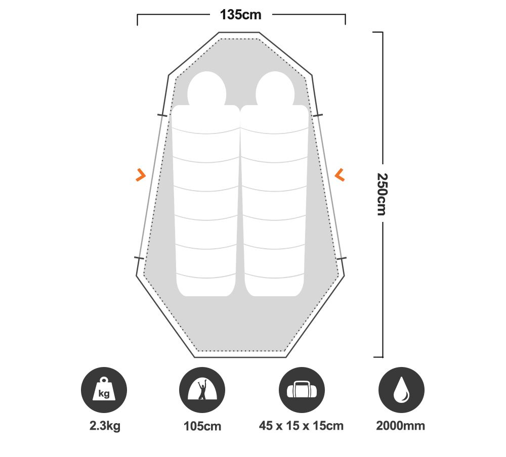 Nomad 2 Hike Tent - Floorplan