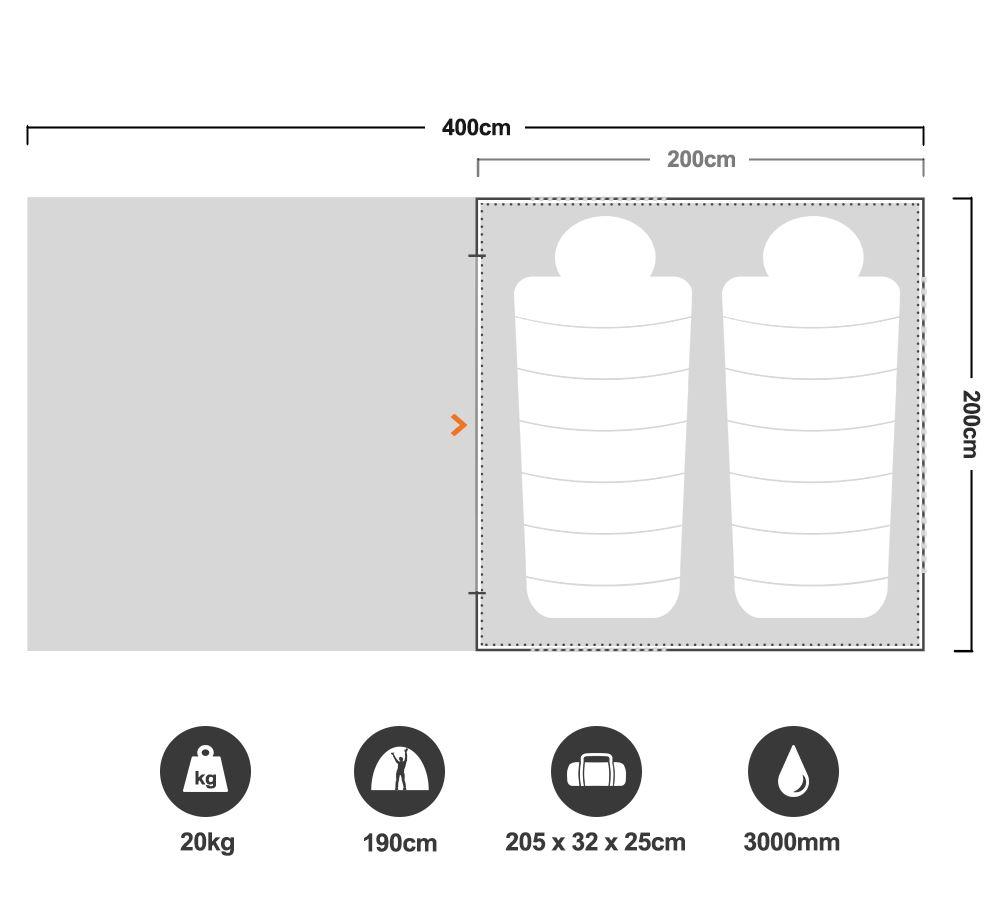 RV2 Canvas Touring Tent - Floorplan