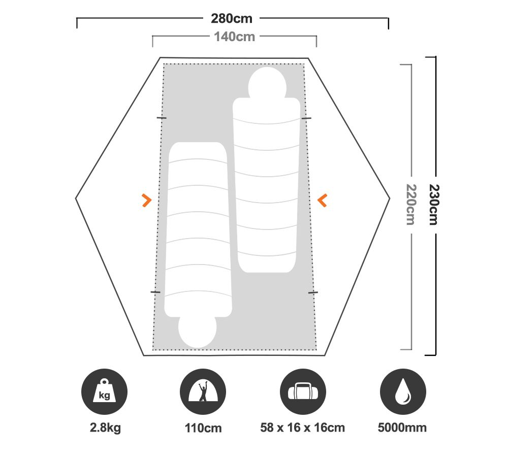 Zeus Hiking Tent - Floorplan