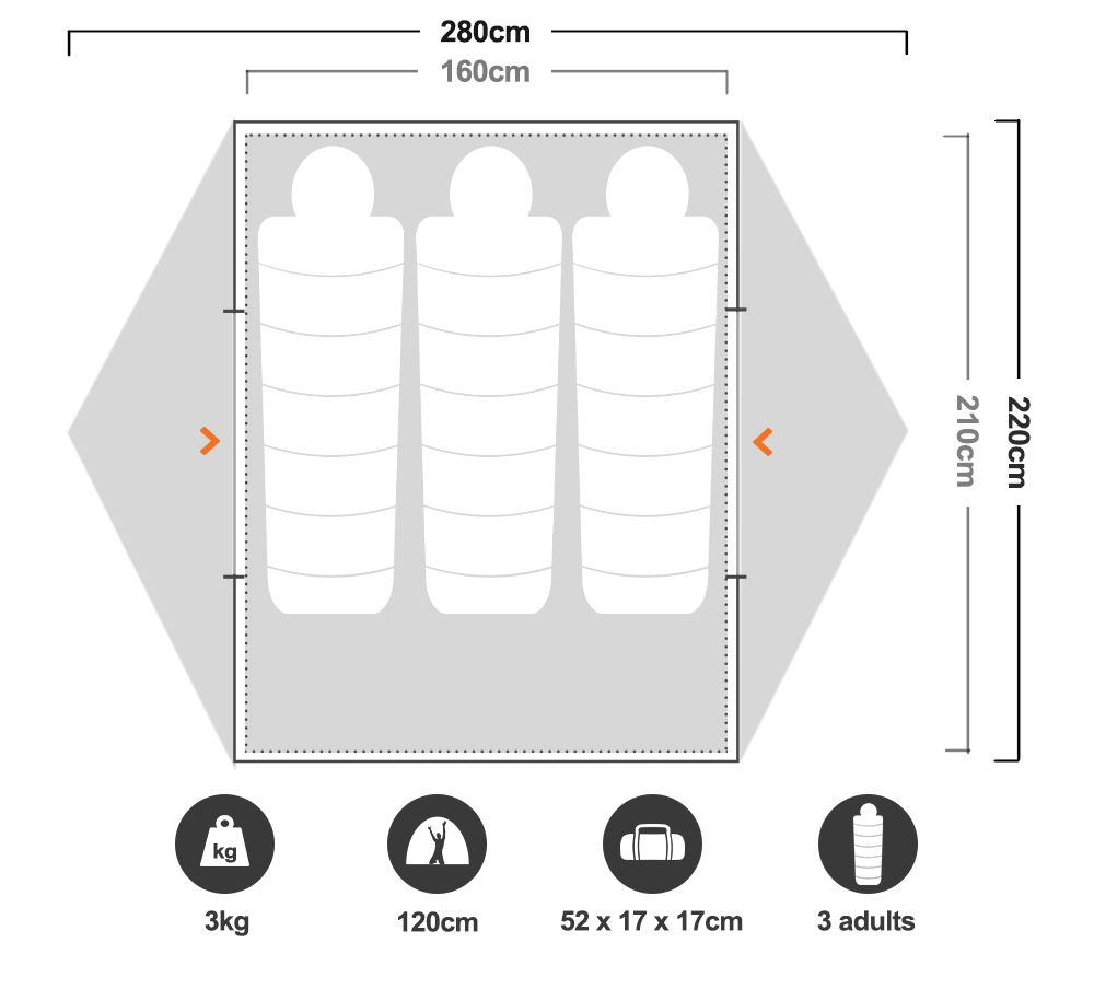 Vertex 3 Hiking Tent - Floorplan