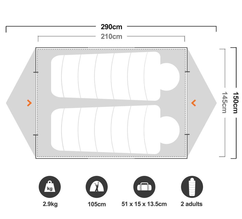 Hiker 2 Dome Tent - Floorplan