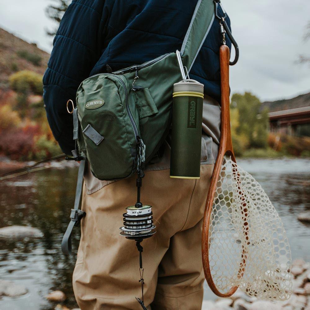 Grayl Ultralight Water Purifier & Filter Bottle - Clipped onto back of bag