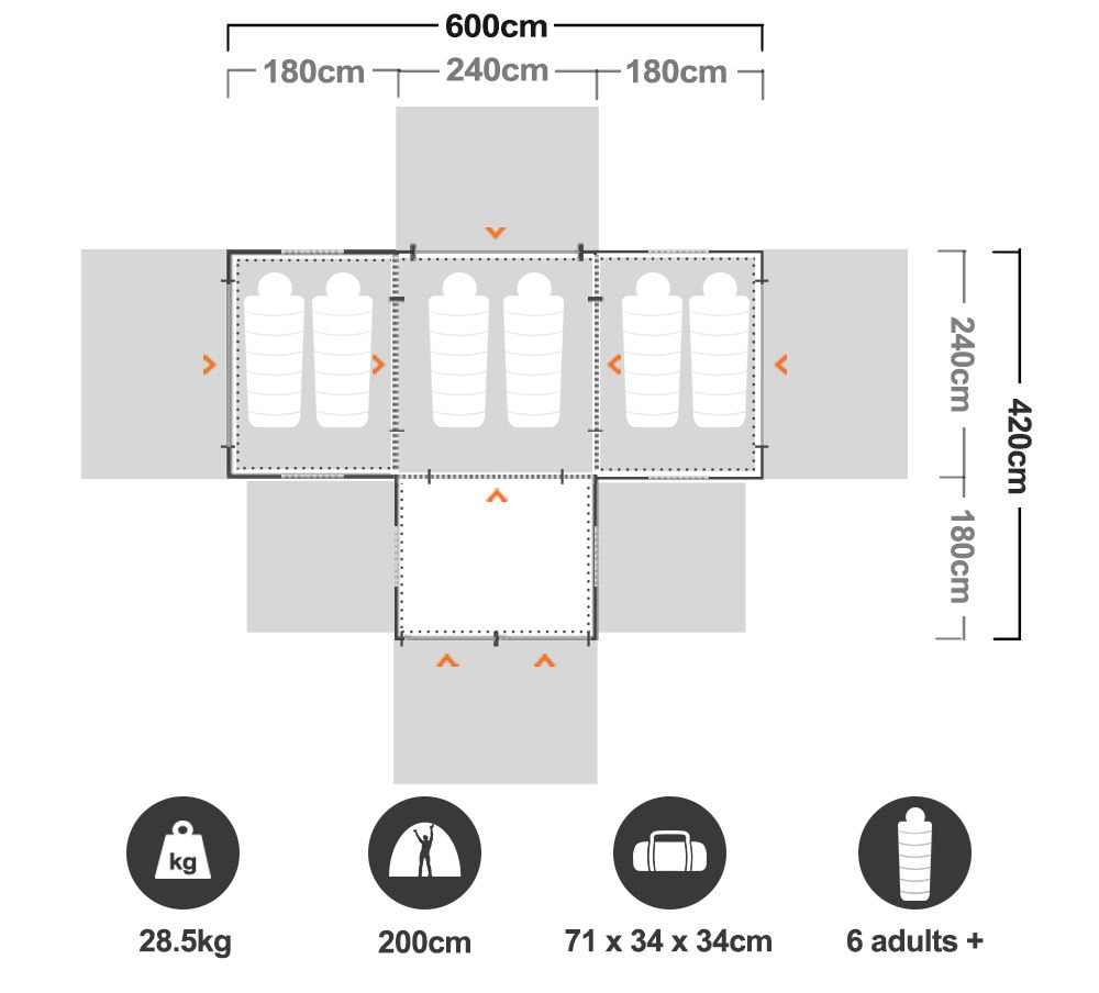 Family 12 Dome Tent - Floorplan