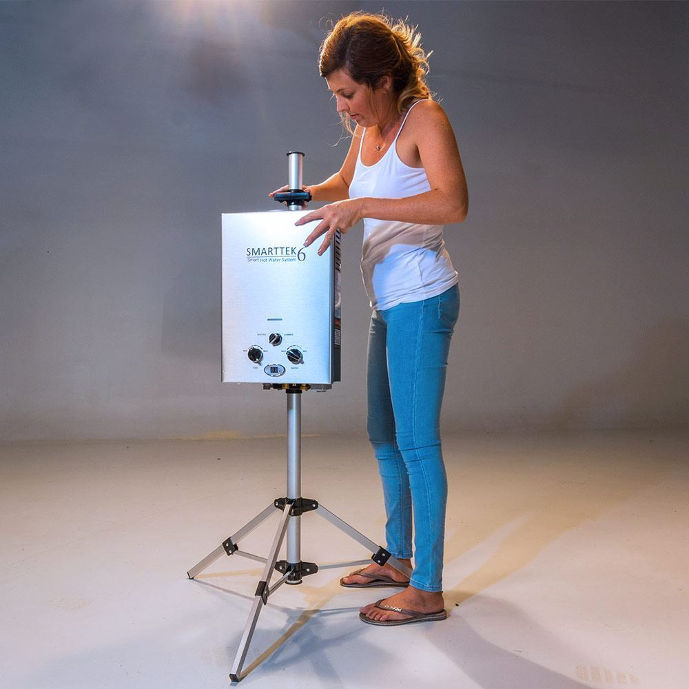 Smarttek Tripod Stand - Woman setting up with hot water system